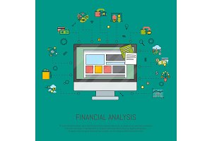 Financial analysis banner vector