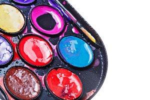 Watercolor paints. Paintbox