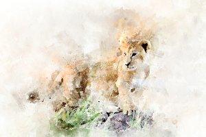 Lion cub - watercolor illustration p