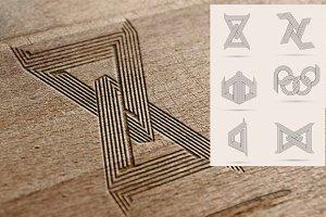 6 line art logos set