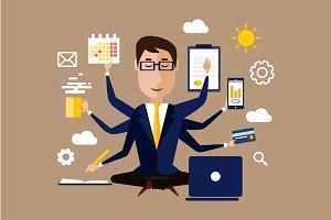Multitasking, multi skillbusinessman