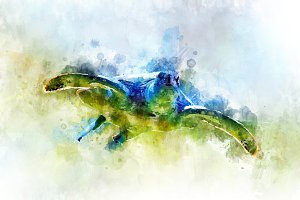 Turtle - watercolor illustration por