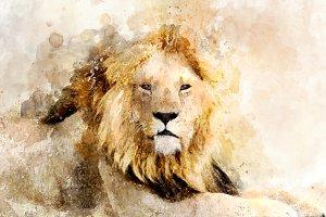 Lion - watercolor illustration portr