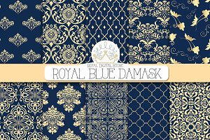 ROYAL BLUE DAMASK digital paper