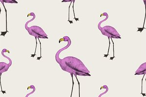 Cute pink flamingo background design