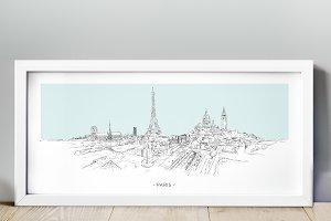Paris City Hand Drawn Sketch Skyline