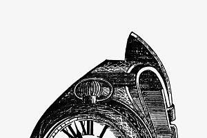 Vintage wristwatch engraving vector