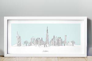 Dubai City Hand Drawn Skyline