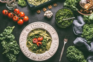 Green pasta with raw kale pesto
