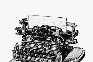 Vintage style retro typewriter