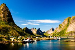 Panoramic view to Reine village and