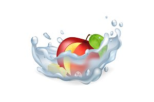 Cut Apple in Water Splash Isolated