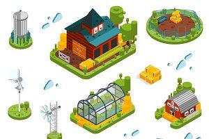 Farm isometric elements set