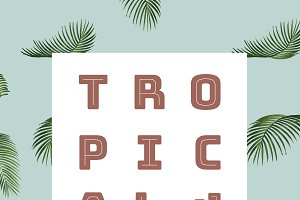 Tropical background with palm leaves