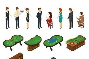 Casino isometric icon set