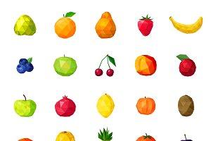 Fresh organic fruits polygonal icons