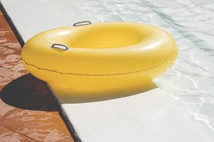 yellow pool float