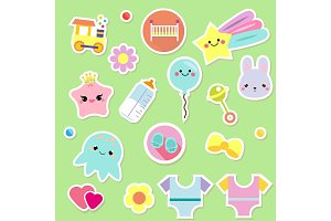 Baby stickers children icons. toys