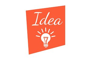 Idea banner with lighting lamp