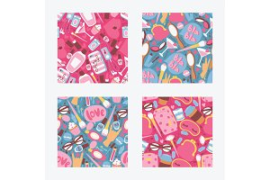 Cosmetic vector seamless pattern