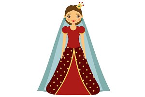 Cute fairy tale princess in red dres