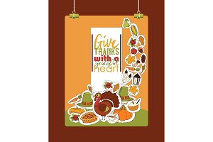 Thanksgiving food vector traditional