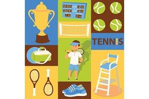 Tennis vector seamless pattern