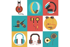 Headphone vector seamless pattern