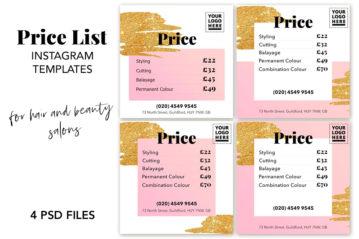 Price List Instagram Template Set Templates Creative Market