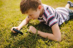 Boy exploring garden grass