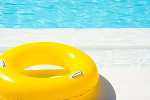 yellow pool float.