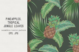 Pineapples,leaves floral pattern