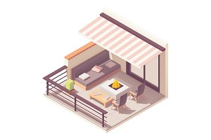 Isometric balcony with furniture