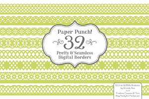 Bamboo Lace Vector Borders Clipart