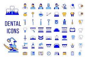 Dental Clinic Services Line Icons