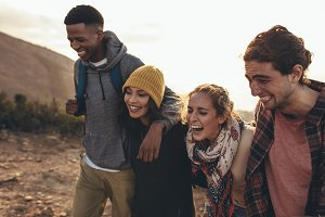 Social networking friends on hiking