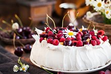 Delicious Pavlova meringue cake deco by  in Food & Drink