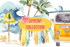 Surfing watercolor clipart set