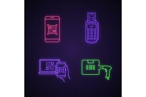 Barcodes neon light icons set