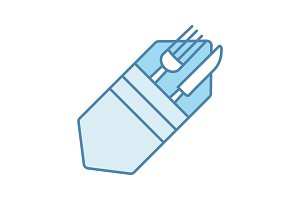 Fork and knife in napkin color icon