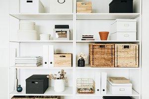 Home office cabinet shelves