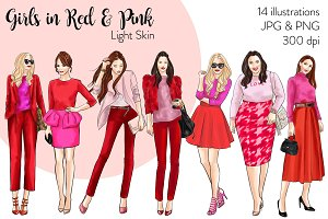 Girls in Red and Pink - Light Skin