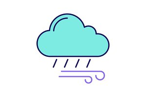 Rainy and windy weather color icon