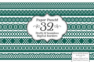 Emerald Green Lace Borders Clipart