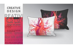 pillow Mock Up vector heart pattern