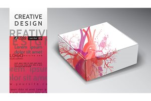 box abstract vector heart design art