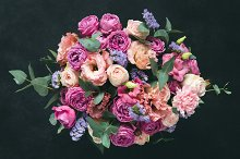 Bouquet of pink purple peony, roses by  in Holidays