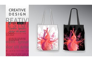 bag Mock Up heart pattern vector art