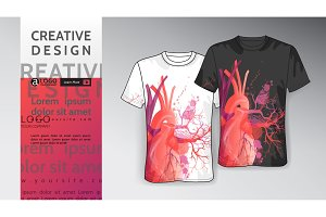 T shirt Template Print Mock-up heart