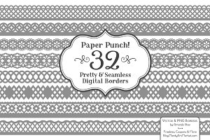 Grey Lace Vector Borders Clipart